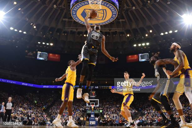 Kevin Durant of the Golden State Warriors dunks against the Los Angeles Lakers on February 2 2019 at the Pepsi Center in Denver Colorado NOTE TO USER...