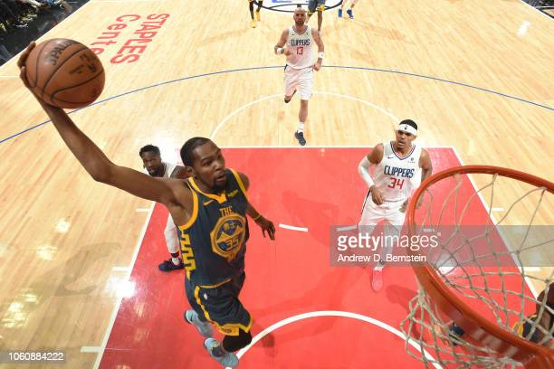Kevin Durant of the Golden State Warriors dunks the ball against the LA Clippers on November 12 2018 at STAPLES Center in Los Angeles California NOTE...