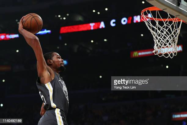 Kevin Durant of the Golden State Warriors dunks the ball against the Los Angeles Lakers during the first half at Staples Center on April 04 2019 in...