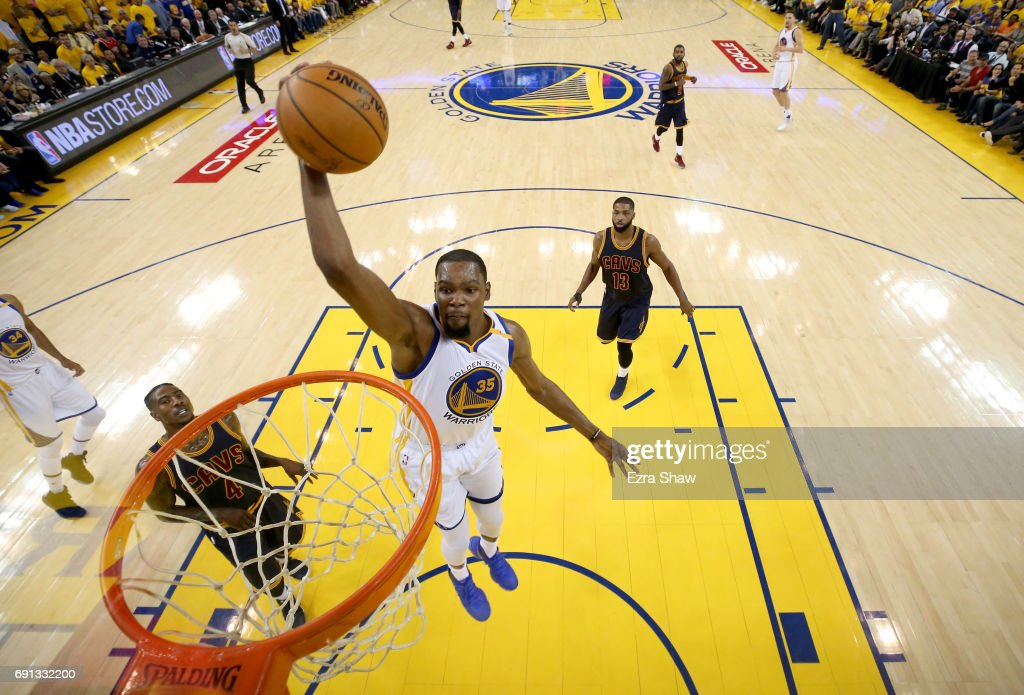 Kevin Durant #35 of the Golden State Warriors dunks the ball against the Cleveland Cavaliers in Game 1 of the 2017 NBA Finals at ORACLE Arena on June 1, 2017 in Oakland, California.