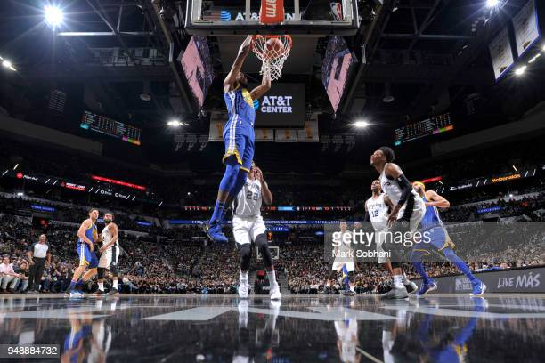 Kevin Durant of the Golden State Warriors dunks the ball against the San Antonio Spurs during Game Three of the Western Conference Quarterfinals in...