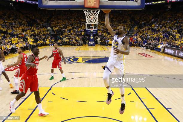 Kevin Durant of the Golden State Warriors dunks the ball against the Houston Rockets during Game Six of the Western Conference Finals in the 2018 NBA...