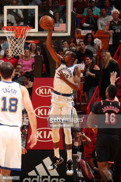 Kevin Durant of the Golden State Warriors dunks the ball during the game against the Miami Heat on December 3 2017 in Miami Florida NOTE TO USER User...