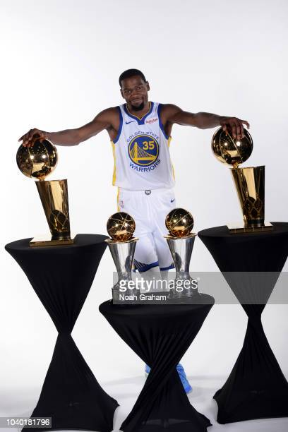 Kevin Durant of the Golden State Warriors during the Media Day on September 24 2018 at the Warriors Practice Facility in Oakland California NOTE TO...