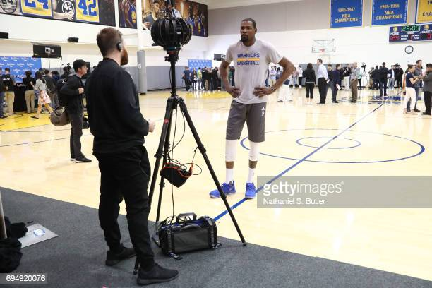 Kevin Durant of the Golden State Warriors gets interviewed in VR during media availability as part of the 2017 NBA Finals on June 11 2017 at Warriors...