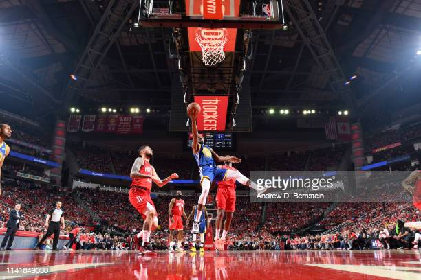 Kevin Durant of the Golden State Warriors goes to the basket against the Houston Rockets during Game Four of the Western Conference Semifinals of the...