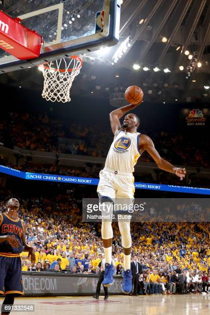 Kevin Durant of the Golden State Warriors goes to the basket against the Cleveland Cavaliers in Game One of the 2017 NBA Finals on June 1 2017 at...