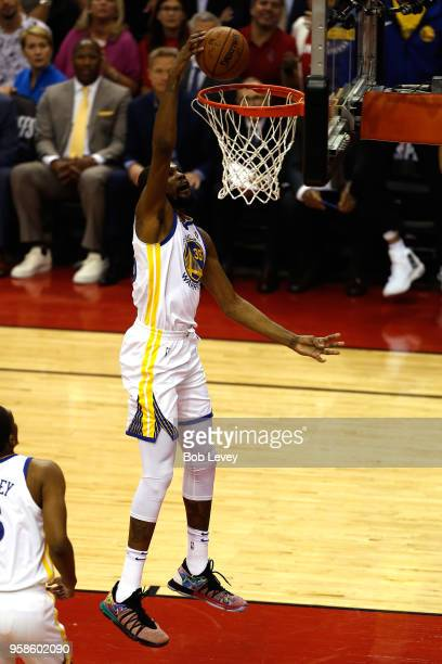 Kevin Durant of the Golden State Warriors goes up for a dunk in the first half against the Houston Rockets in Game One of the Western Conference...