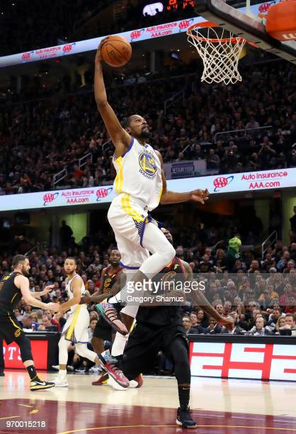 Kevin Durant of the Golden State Warriors goes up for a dunk in the first quarter against the Cleveland Cavaliers during Game Four of the 2018 NBA...