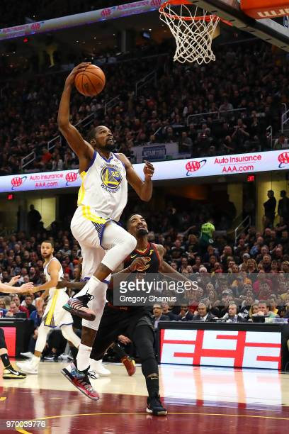 Kevin Durant of the Golden State Warriors goes up for a layup against the Cleveland Cavaliers during Game Four of the 2018 NBA Finals at Quicken...