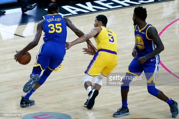 Kevin Durant of the Golden State Warriors handles the ball against the Los Angeles Lakers on October 10 2018 at TMobile Arena in Las Vegas Nevada...
