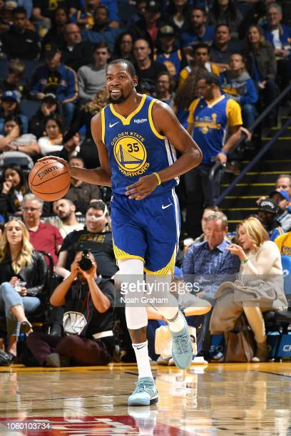 Kevin Durant of the Golden State Warriors handles the ball against the Brooklyn Nets on November 10 2018 at ORACLE Arena in Oakland California NOTE...