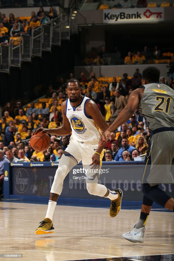 cf5c56706d2 Kevin Durant of the Golden State Warriors handles the ball against ...