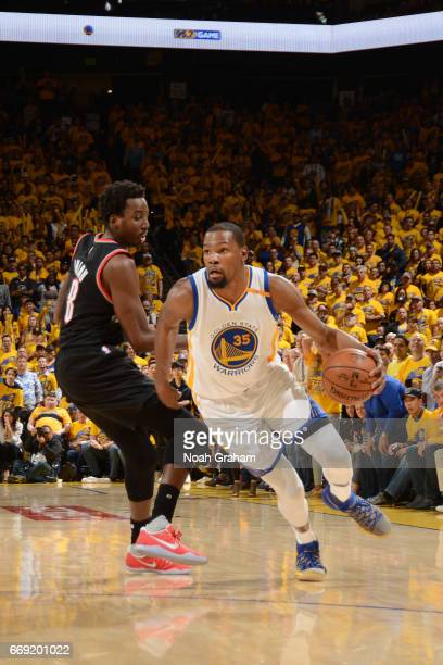 Kevin Durant of the Golden State Warriors handles the ball against the Portland Trail Blazers during the Western Conference Quarterfinals of the 2017...