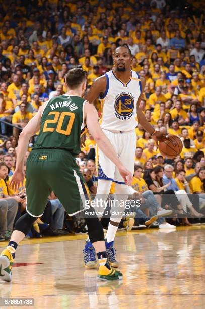 Kevin Durant of the Golden State Warriors handles the ball against the Utah Jazz during Game One of the Western Conference Semifinals of the 2017 NBA...
