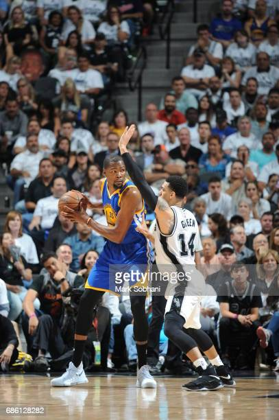 Kevin Durant of the Golden State Warriors handles the ball against the San Antonio Spurs in Game Three of the Western Conference Finals of the 2017...