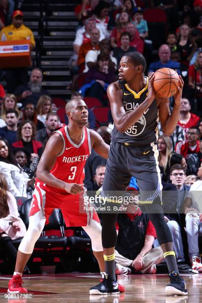 Kevin Durant of the Golden State Warriors handles the ball against the Houston Rockets on January 20 2018 at the Toyota Center in Houston Texas NOTE...
