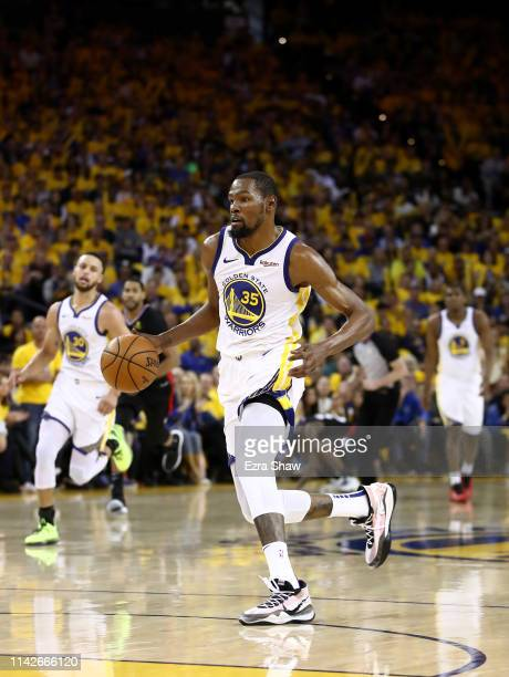 Kevin Durant of the Golden State Warriors in action against the LA Clippers during Game One of the first round of the 2019 NBA Western Conference...