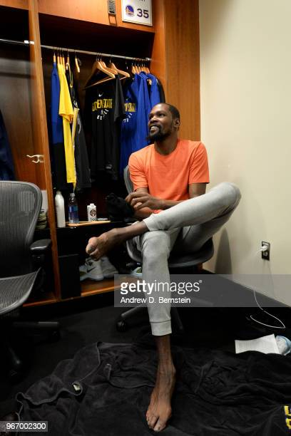 Kevin Durant of the Golden State Warriors in the locker room after Game Two of the 2018 NBA Finals on June 3 2018 at ORACLE Arena in Oakland...