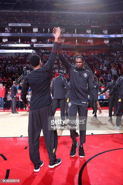 Kevin Durant of the Golden State Warriors is introduced before the game against the Houston Rockets on January 20 2018 at the Toyota Center in...