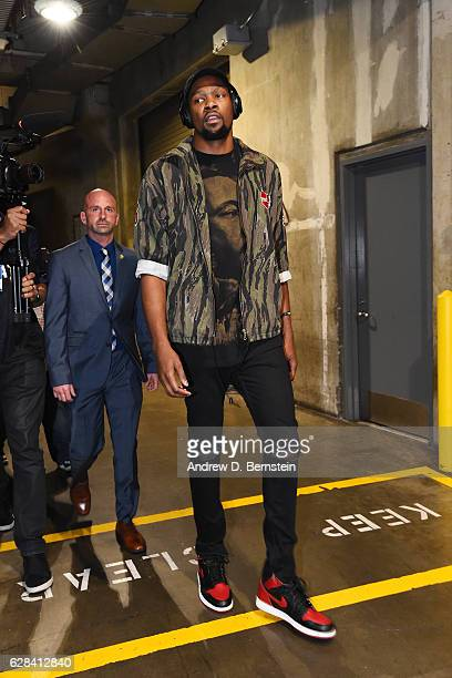 Kevin Durant of the Golden State Warriors is seen before the game against the LA Clippers on December 7 2016 at STAPLES Center in Los Angeles...