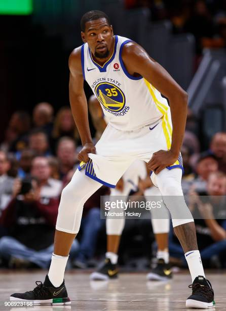 Kevin Durant of the Golden State Warriors is seen during the game against the Cleveland Cavaliers at Quicken Loans Arena on January 15 2018 in...