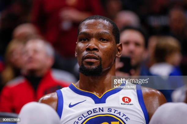 Kevin Durant of the Golden State Warriors is seen on the bench during the game against the Cleveland Cavaliers at Quicken Loans Arena on January 15...
