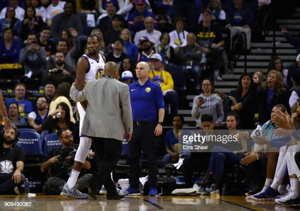 Kevin Durant of the Golden State Warriors leaves the court after being ejected for being called for his second technical foul against the New York...