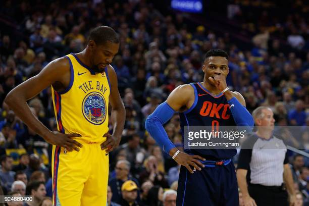 Kevin Durant of the Golden State Warriors lines up on Russell Westbrook of the Oklahoma City Thunder at a freethrow during their game at ORACLE Arena...