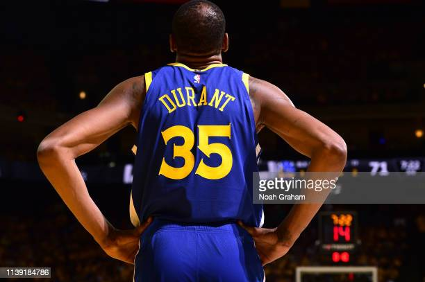 Kevin Durant of the Golden State Warriors looks on against the LA Clippers during Game Five of Round One of the 2019 NBA Playoffs on April 24 2019 at...