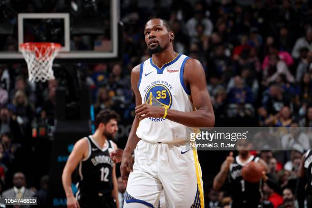 Kevin Durant of the Golden State Warriors looks on during a game against the Brooklyn Nets on October 28 2018 at Barclays Center in Brooklyn New York...