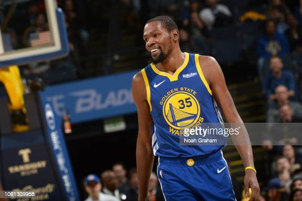 Kevin Durant of the Golden State Warriors looks on during the game against the Atlanta Hawks on November 13 2018 at ORACLE Arena in Oakland...