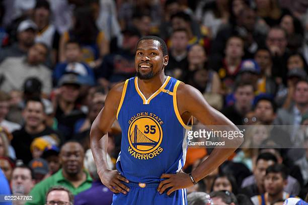 Kevin Durant of the Golden State Warriors looks on during the game against the Denver Nuggets on November 10 2016 at the Pepsi Center in Denver...