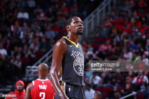 Kevin Durant of the Golden State Warriors looks on during the game against the Houston Rockets on January 20 2018 at the Toyota Center in Houston...