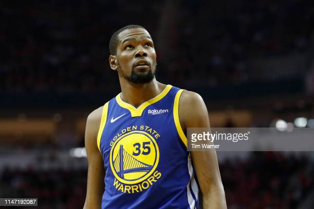 Kevin Durant of the Golden State Warriors looks toward the scoreboard in the second quarter during Game Three of the Second Round of the 2019 NBA...