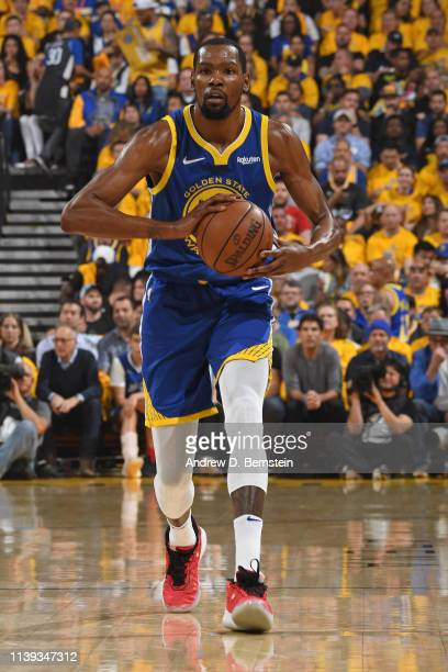 Kevin Durant of the Golden State Warriors passes the ball during the game against the LA Clippers during Game Five of Round One of the 2019 NBA...