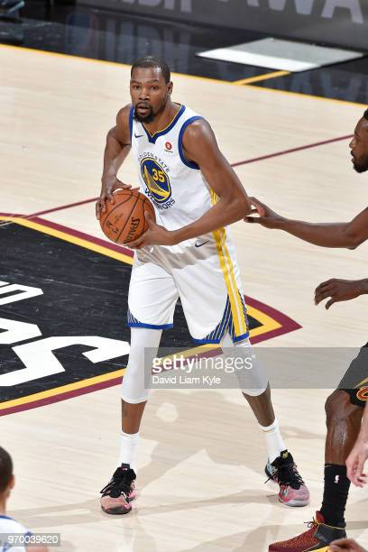 OH Kevin Durant of the Golden State Warriors passes the ball during the game against the Cleveland Cavaliers in Game Four of the 2018 NBA Finals on...