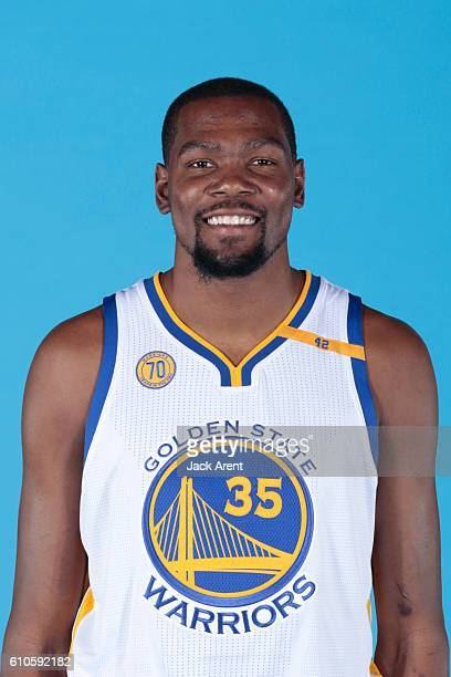 Kevin Durant of the Golden State Warriors poses for a head shot during the 20162017 Media Day on September 26 2016 at the Warriors practice facility...