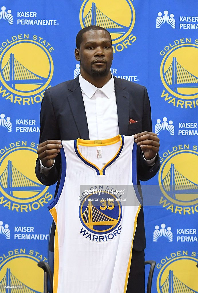 online retailer c829a 6a73d Kevin Durant of the Golden State Warriors poses with his new ...
