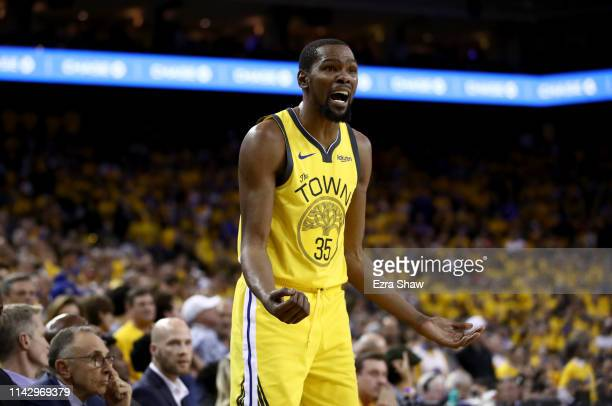 Kevin Durant of the Golden State Warriors questions a call during their game against the LA Clippers during Game Two of the first round of the 2019...