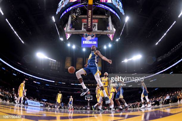 Kevin Durant of the Golden State Warriors reacts after his dunk during a 130111 win over the Los Angeles Lakers at Staples Center on January 21 2019...