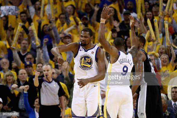 Kevin Durant of the Golden State Warriors reacts after LaMarcus Aldridge of the San Antonio Spurs turned the ball over in the final minutes of Game...