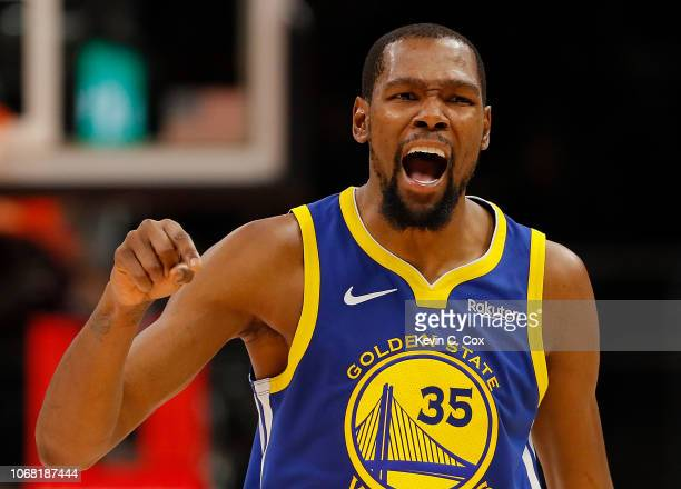 Kevin Durant of the Golden State Warriors reacts against the Atlanta Hawks at State Farm Arena on December 3 2018 in Atlanta Georgia NOTE TO USER...