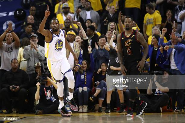 Kevin Durant of the Golden State Warriors reacts against the Cleveland Cavaliers during the first half in Game 1 of the 2018 NBA Finals at ORACLE...
