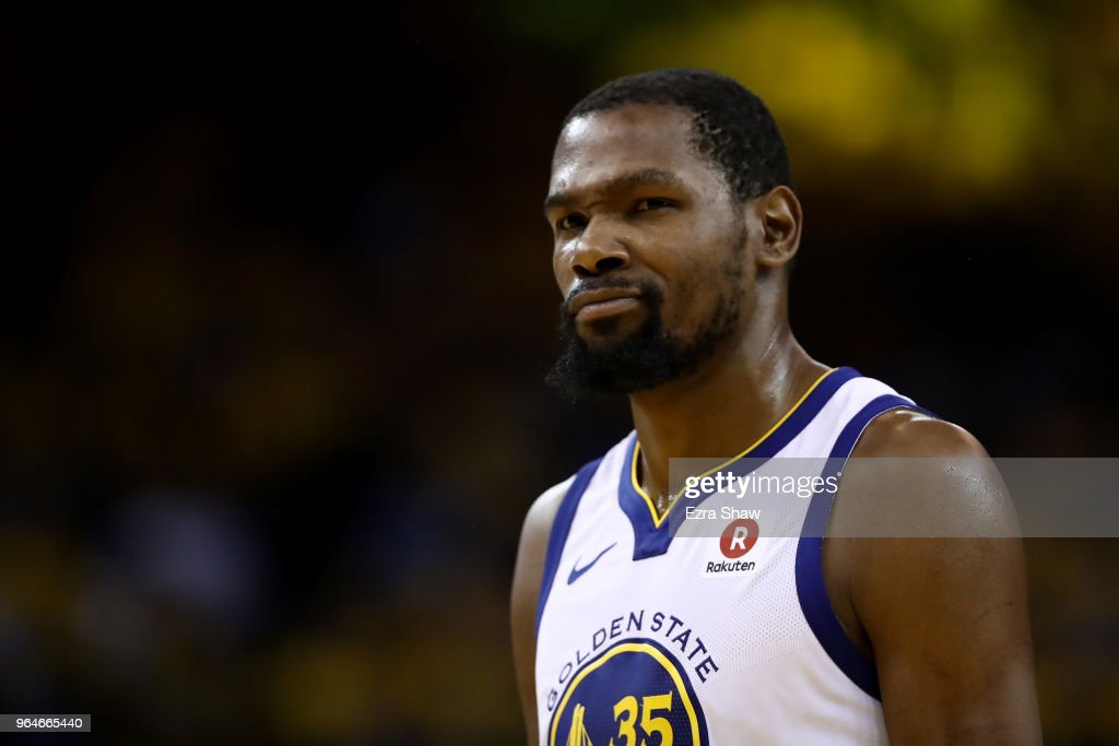 Kevin Durant #35 of the Golden State Warriors reacts against the Cleveland Cavaliers during the second half in Game 1 of the 2018 NBA Finals at ORACLE Arena on May 31, 2018 in Oakland, California.