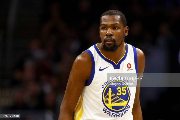 Kevin Durant of the Golden State Warriors reacts against the Cleveland Cavaliers during Game Four of the 2018 NBA Finals at Quicken Loans Arena on...