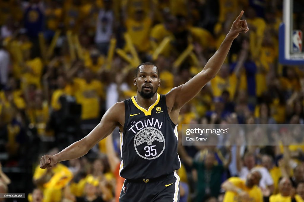 Kevin Durant #35 of the Golden State Warriors reacts against the Cleveland Cavaliers in Game 2 of the 2018 NBA Finals at ORACLE Arena on June 3, 2018 in Oakland, California.
