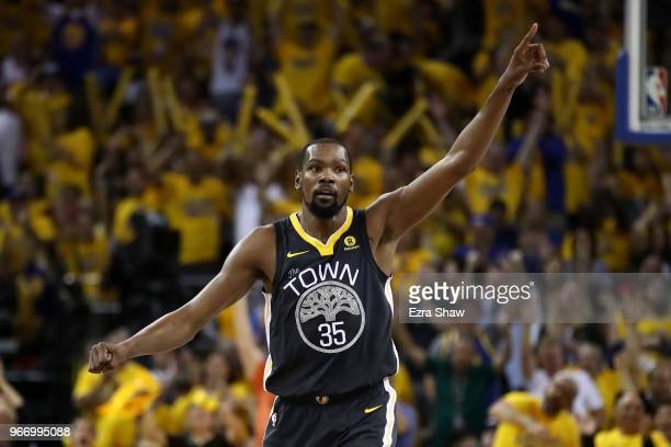 Kevin Durant of the Golden State Warriors reacts against the Cleveland Cavaliers in Game 2 of the 2018 NBA Finals at ORACLE Arena on June 3 2018 in...
