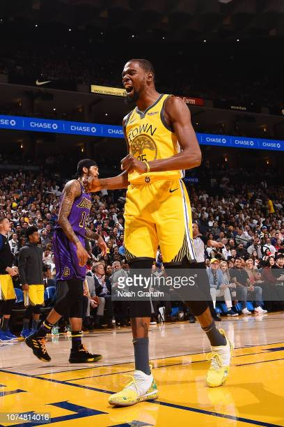 Kevin Durant of the Golden State Warriors reacts against the Los Angeles Lakers on December 25 2018 at ORACLE Arena in Oakland California NOTE TO...