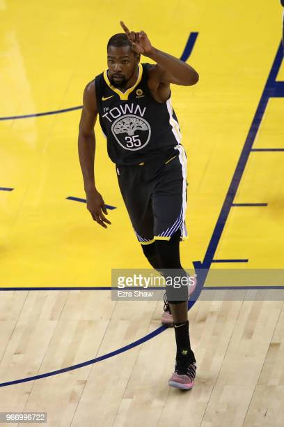 Kevin Durant of the Golden State Warriors reacts during the fourth quarter against the Cleveland Cavaliers in Game 2 of the 2018 NBA Finals at ORACLE...